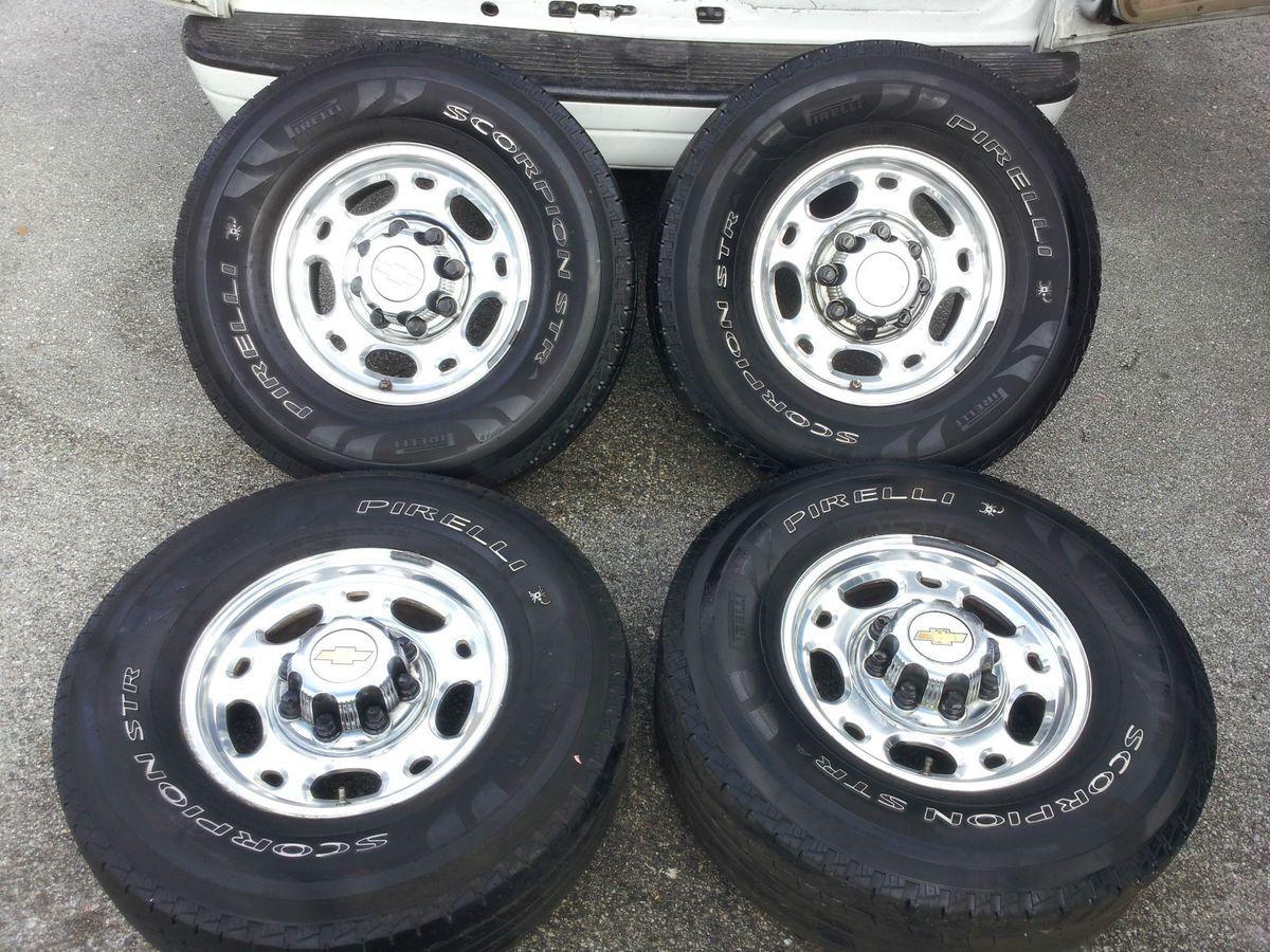 CHEVY GMC 16 OEM 8 LUG ALLOY WHEELS RIMS Tires 2500 3500 HD Silverado