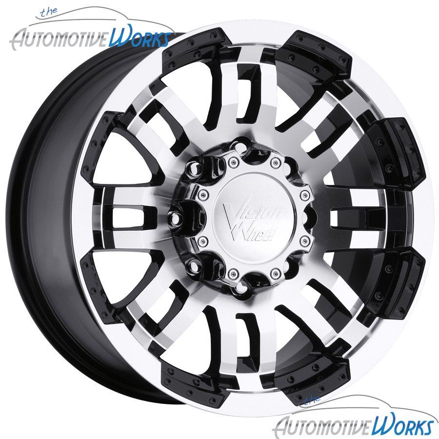 Vision Warrior 8x165 1 8x6 5 6mm Black Machined Wheels Rims Inch 16