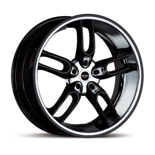 20 x10 Ruff Racing R942 Black w Chrome Wheels Rims