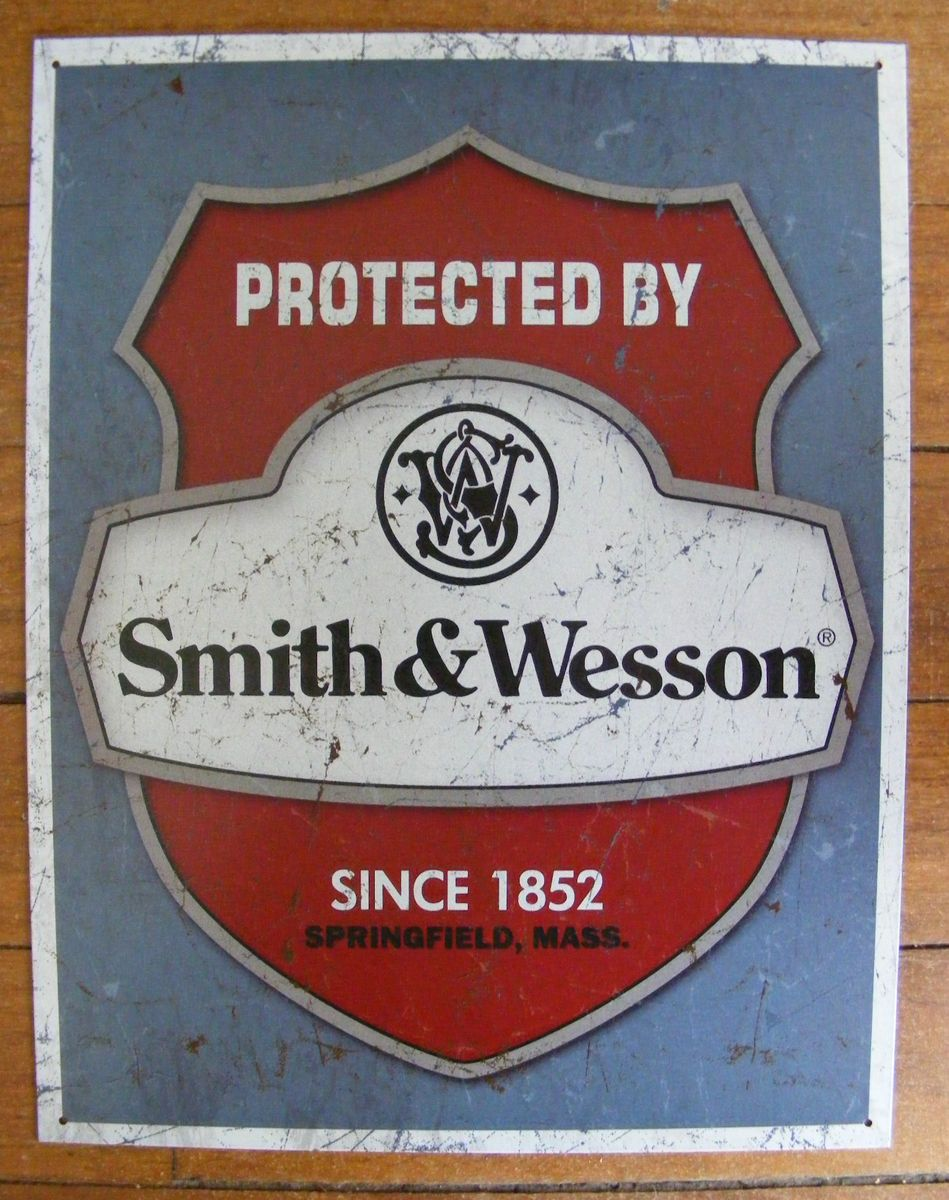 and Wesson Firearms Badge Shield Tin Sign Pistol Gun 38 357 44 Magnum